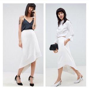 asos • white asymmetrical hem a-line skirt